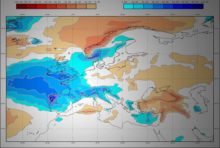 Anomalías lluvia febrero