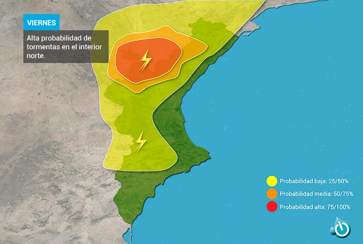 Probabilidad de tormentas 22 de julio